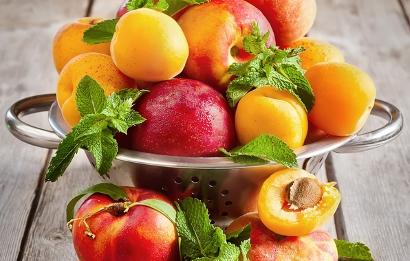 Picture peaches, nectarines, mint leaves, Apricots