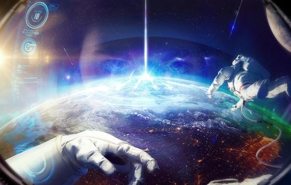 Picture space, planet, astronaut, the suit, orbit, astronaut