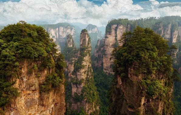 Picture the sky, clouds, rocks, China, Pandora, China, Hunan province, Hunan Zhangjiajie National Forest Park, national …