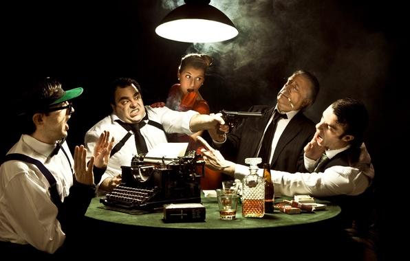 Picture glass, emotions, lamp, trunk, typewriter, cognac, cigarette, mafia