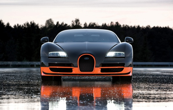 Picture road, view, wet, Bugatti, front