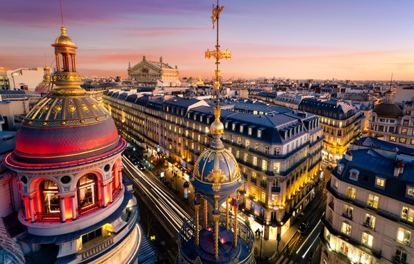 Picture the city, France, Paris, building, home, the evening, roof, Paris, Palace, France, dome, Ile-de-France, Grand …