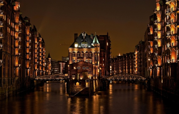 Picture light, night, the city, building, home, Germany, channel, bridges, Hamburg, Germany, Germany, Memory city, Hamburg, …