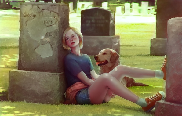 Picture dog, art, girl, cemetery, tombstone