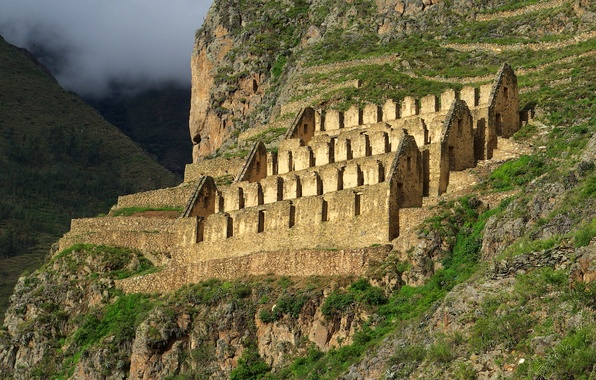 Picture clouds, mountains, the city, the ruins, ruins, Peru, Ollantaytambo