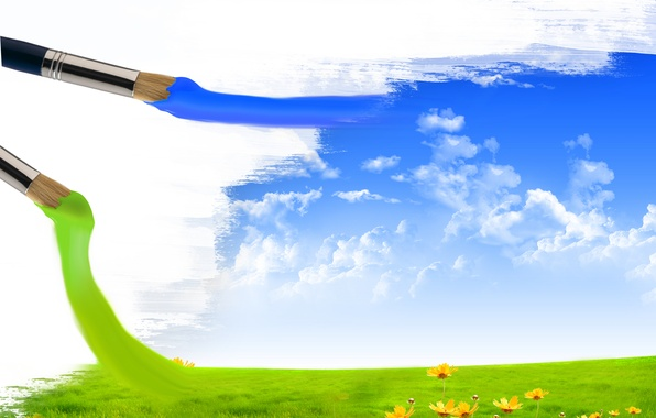 Picture field, the sky, clouds, flowers, creative, paint, brush