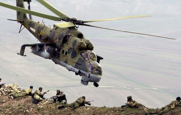 Picture mountains, landing, landing, Mi-24