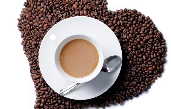 Picture heart, coffee, grain, Cup
