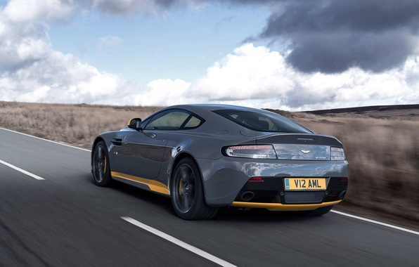 Picture road, machine, Aston Martin, speed, supercar, supercar, rear view, V12, Vantage S, Sport-Plus Pack, speed. …