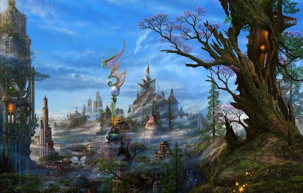 Picture clouds, trees, the city, fantasy, art, haze, ucchiey, if kazama uchio