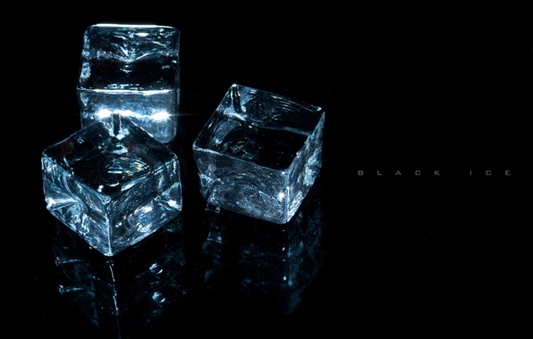 Picture transparency, light, reflection, background, ice, Cubes, three, sparkles., on black