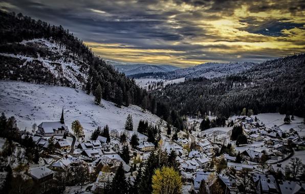 Photo wallpaper mountains, night, Muggenbrunn