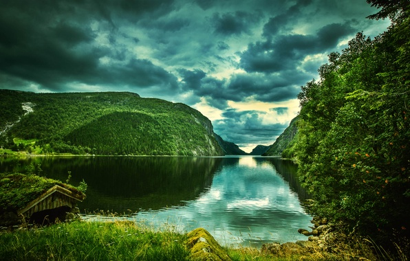 Picture greens, clouds, trees, mountains, river, rocks, Norway, Rogaland