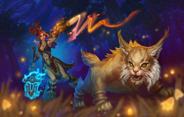 Picture forest, cat, girl, night, animal, magic, predator, MAG, spear