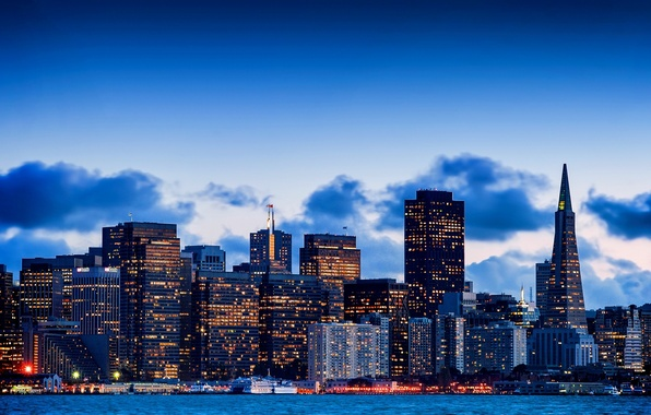 Picture the sky, the city, building, home, skyscrapers, the evening, CA, Bay, San Francisco, USA, USA, …