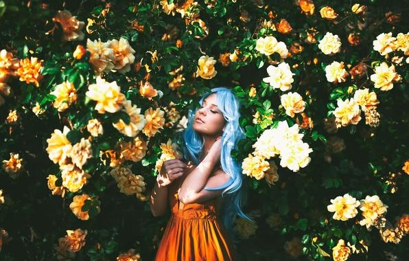 Picture girl, flowering, blue hair, sunlight, True Blue, Alexandra Cameron
