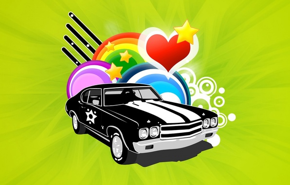 Picture auto, circles, collage, heart, star, Vector