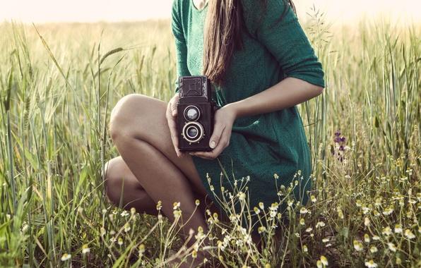 Picture greens, field, grass, girl, background, widescreen, Wallpaper, feet, mood, camera, dress, brunette, meadow, the camera, …