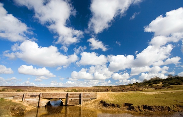 Picture the sky, water, clouds, bridge, the steppe, river