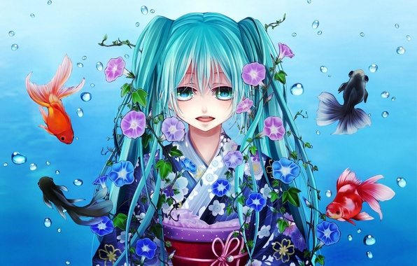 Picture girl, fish, fish, flowers, bubbles, art, kimono, vocaloid, hatsune miku, Vocaloid, gold, shio, yunki, morning …