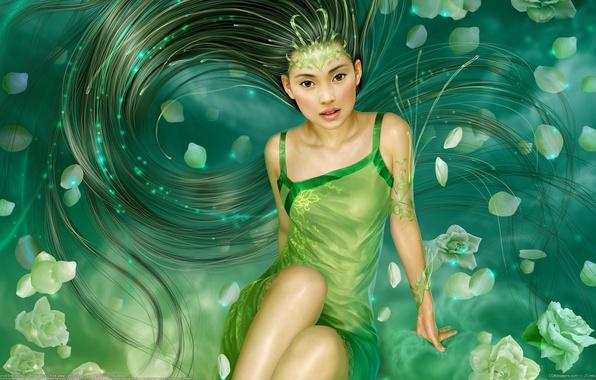 Picture girl, flowers, lights, hair, Shine, mermaid, roses, petals, fantasy