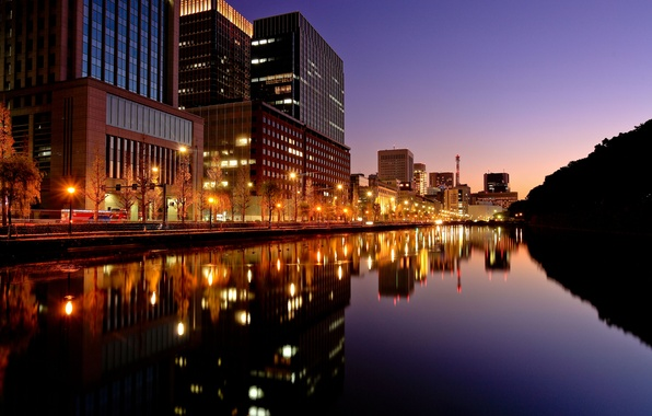 Picture night, the city, lights, Japan, the evening, Tokyo