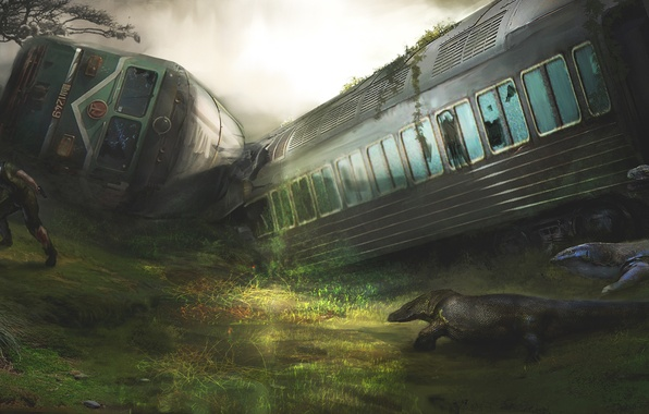 Picture people, train, the crash, cars, art, male, lizards