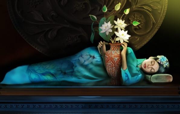 Picture girls, fantasy, girl, fantasy, Lotus, lotuses