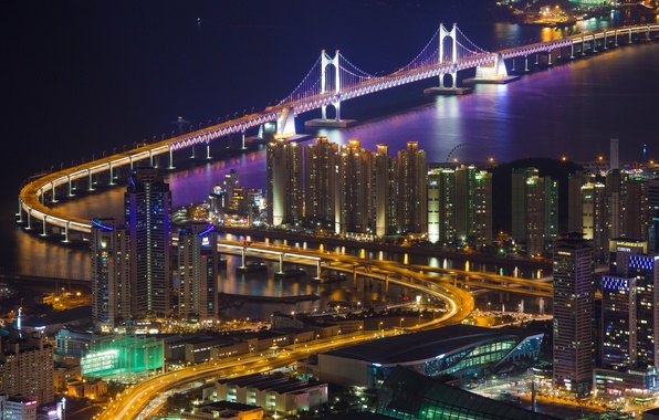 Wallpaper backlight bridge lighting home gwangan the for Home wallpaper korea
