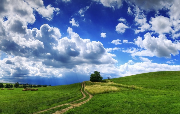 Picture road, grass, clouds, landscape, clouds, tree, hills, hay