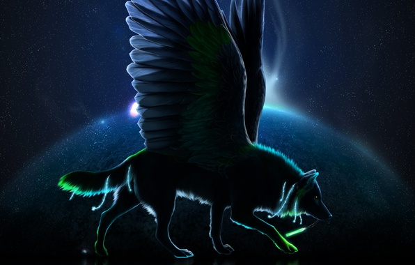 Picture stars, wolf, wings, silhouette, art, novawuff
