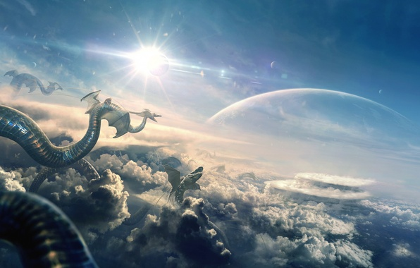 Picture the sky, the sun, clouds, light, dragon, planet, art