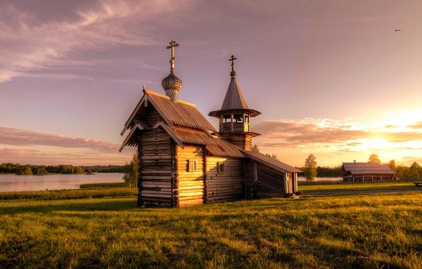 Picture autumn, Church, Russia, Kizhi