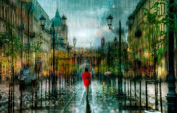 Picture girl, drops, rain, treatment, Saint Petersburg