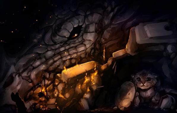 Picture cat, dragon, armor, shelter, art, dragon, Skyrim, The Elder Scrolls