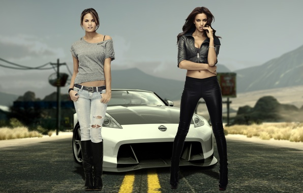 Picture mountains, girls, desert, track, Nissan, irina sheik, model, beauty, Chrissy teigen, Irina shayk, EA e …