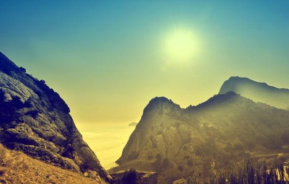 Picture sea, the sun, mountains, dawn, morning, Crimea
