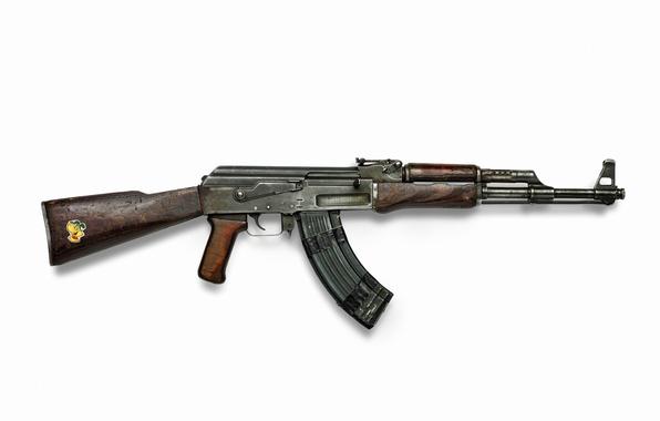 Picture rusty, weapons, Wallpaper, USSR, wallpaper, old, Kalashnikov, Machine, legend, shop, sticker, AK-47, wooden stock