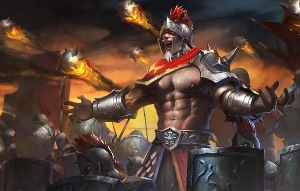 Picture army, warrior, helmet, spear, hon, shield, Heroes of Newerth, midas, Warrior King