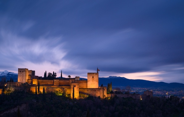 Picture the sky, mountains, clouds, the evening, lighting, backlight, architecture, blue, Spain, province, Granada