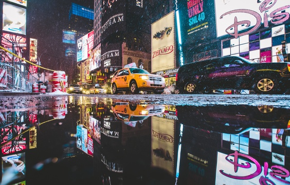 Photo wallpaper reflection, street, New York, neon, camera, mirror, puddle, Manhattan, cars, cones, United States, Times Square