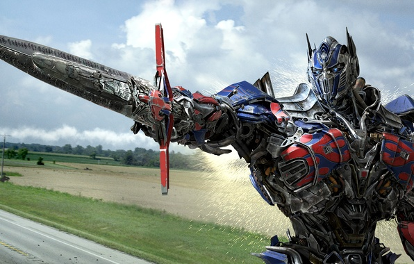 Picture road, field, the sky, trees, clouds, weapons, sword, sparks, iron, Optimus Prime, Optimus Prime, Michael …