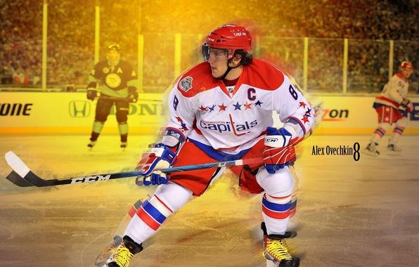 Photo Wallpaper Ice Form Stick Hockey Skates Alexander Ovechkin NHL