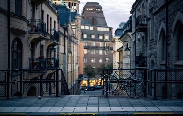 Picture bike, the city, street, building, home, the evening, border, Stockholm, Sweden, the sidewalk, Sverige, Stockholm
