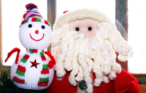 Picture new year, snowman, Santa Claus