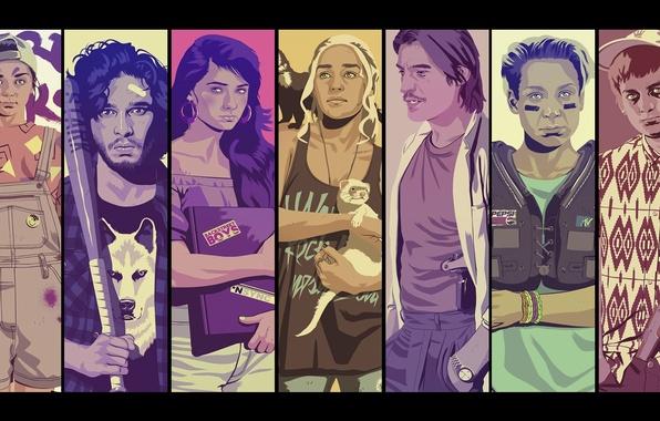 Picture minimalism, Game Of Thrones, Game of Thrones, Daenerys Targaryen, Jon Snow, Jon Snow, Daenerys Targaryen, ...