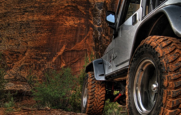 Picture sand, mountains, rocks, jeep, wheel, jeep