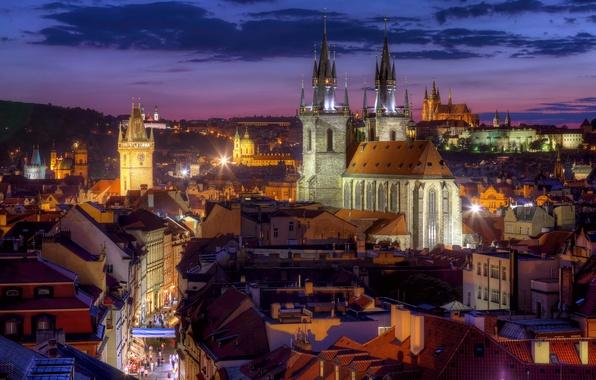 Picture building, roof, Prague, Czech Republic, panorama, night city, Prague, Tyn Church, Czech Republic