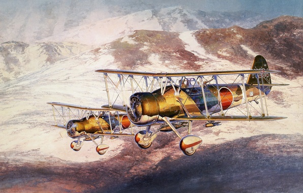 """Picture the sky, figure, art, bombers, Japanese, WW2, deck, dive, Aichi D1A2 (""""тип 96"""")"""