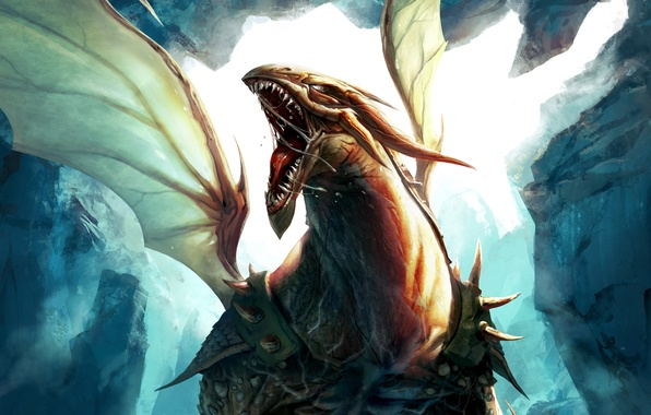 Picture rocks, dragon, wings, art, mouth, armor